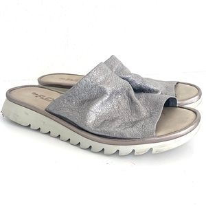 The Flexx Silver Metallic Leather Slide On Sandals